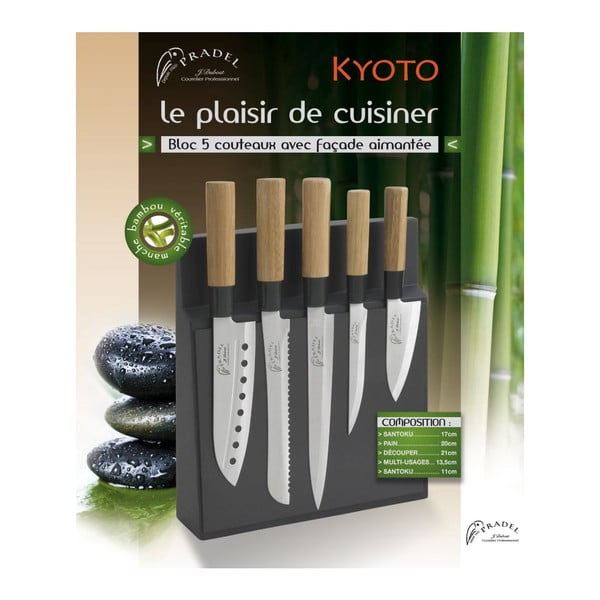 Sada 5 nožů s magnetickým blokem Jean Dubost Kyoto
