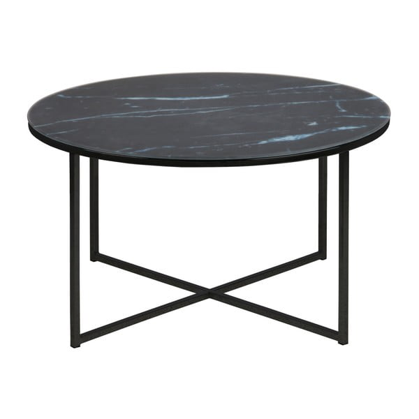 Czarny stolik Actona Alisma, ⌀ 80 cm