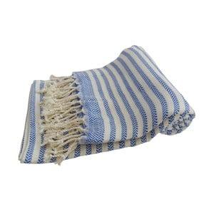 Modrá ručně tkaná osuška z prémiové bavlny Homemania Safir Hammam,100x180 cm