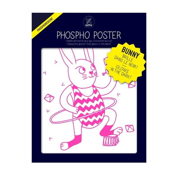 Plakát svítící ve tmě OMY Bunny, 30 x 40 cm