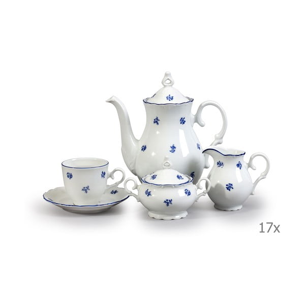 Porcelanowy zestaw na kawę z motywem niebieskiego kwiatka Thun Ophelia