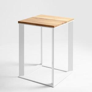 Odkládací stolek s bílým podnožím a dubovou deskou Custom Form Skaden, 50x50cm
