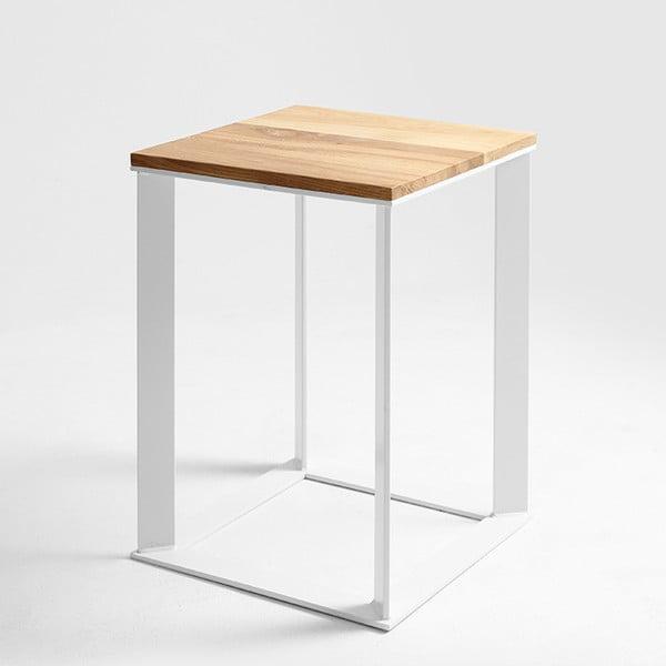 Skaden tárolóasztal fehér lábazattal és tölgyfa asztallappal, 50 x 50 cm - Custom Form