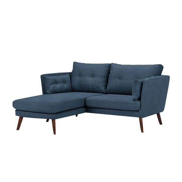 Modrá trojmiestna pohovka Mazzini Sofas Elena, s leňoškou na ľavom rohu