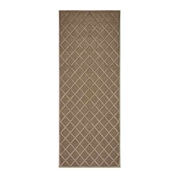 Hnědý běhoun Mint Rugs Shine Karro, 80 x 250 cm