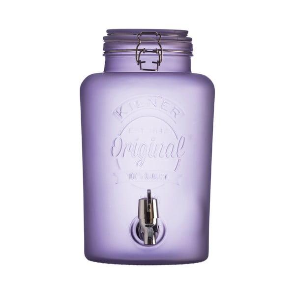 Mléčně fialový skleněný nápojový automat s kohoutkem Kilner, 5 l