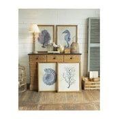 Sada 4 obrazů v dřevěných rámech Orchidea Milano Coastal, 55 x 70 cm