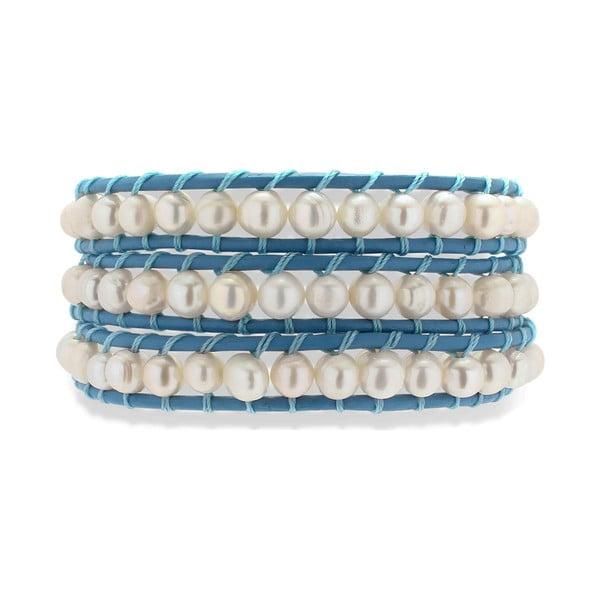Tmavomodro-bílý kožený náramek s perlami Nova Pearls Copenhagen Néreus