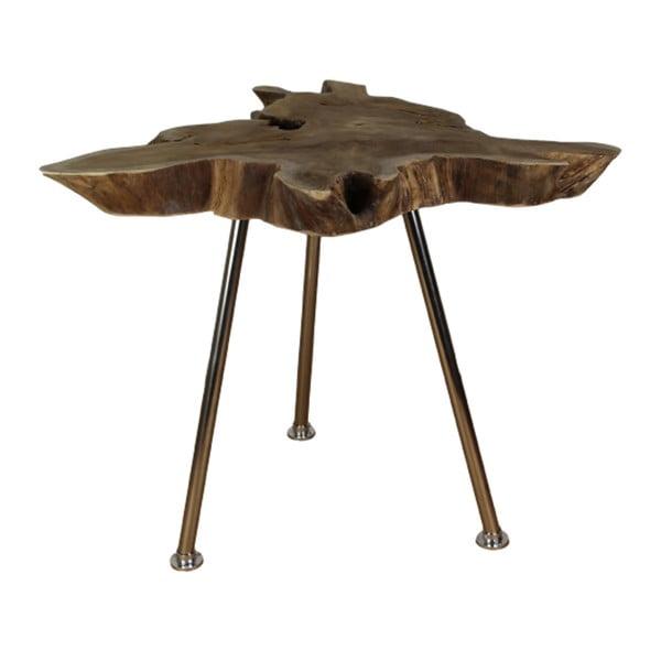 Stain tárolóasztal teakfa asztallappal, ⌀ 80 cm - HSM collection