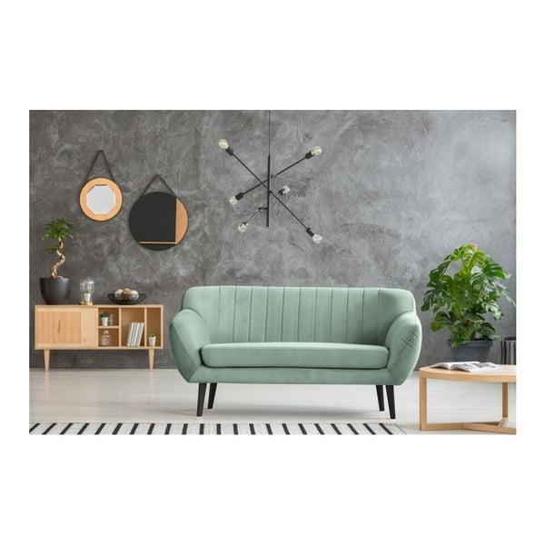 Mentolově zelená pohovka pro dva Mazzini Sofas Toscane, černénohy