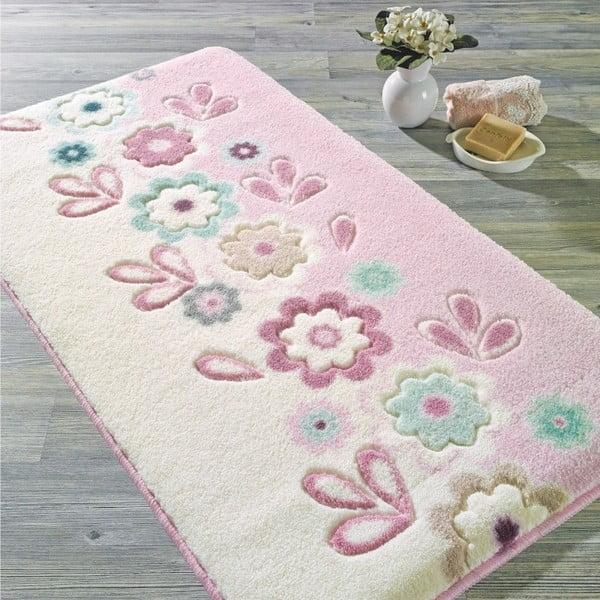 Růžová předložka do koupelny Confetti Bathmats April, 80 x 140 cm