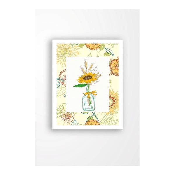 Nástěnný obraz na plátně v bílém rámu Tablo Center Yellow Flower, 29 x 24 cm