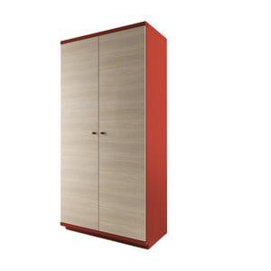 Dulap cu 2 uși din lemn masiv de stejar JELÍNEK Amanta, roșu