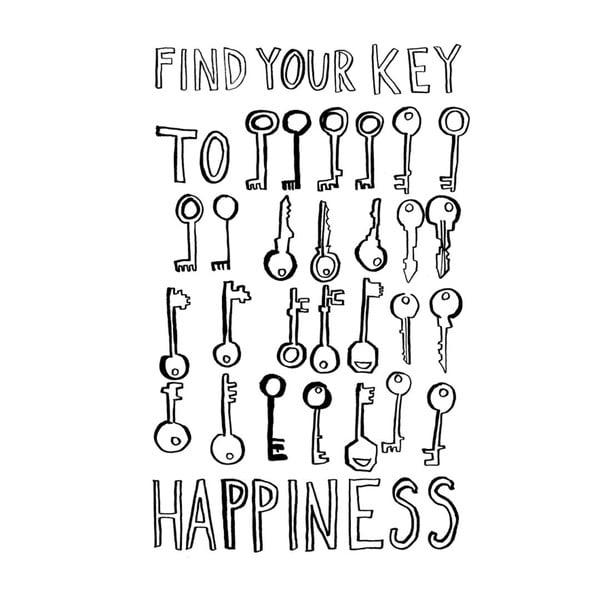 Plakát Karin Åkesson Design Key To Happiness, 30x40 cm