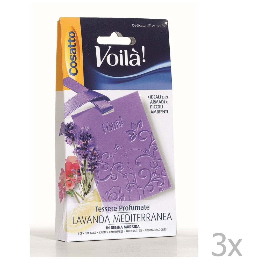 Sada 3 vonných karet s vůní středomořské levandule Cosatto Perfume