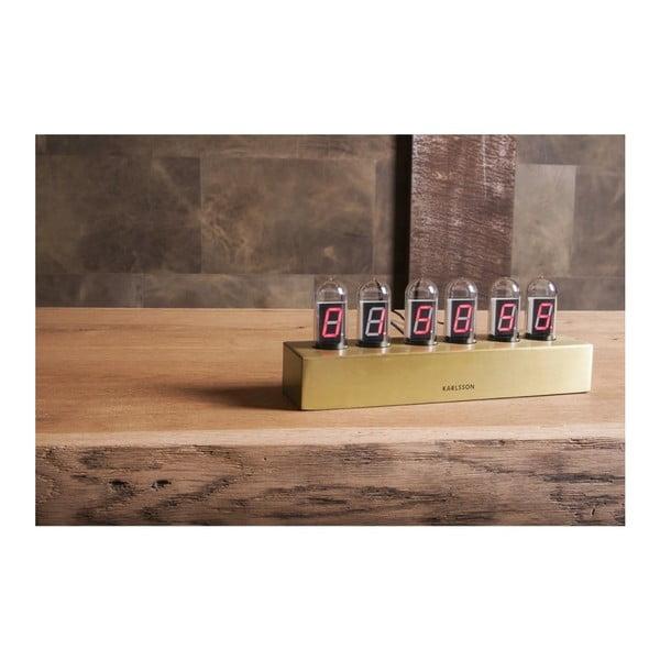 Digitální hodiny na podstavci ve dřevěném dekoru Karlsson Cathode