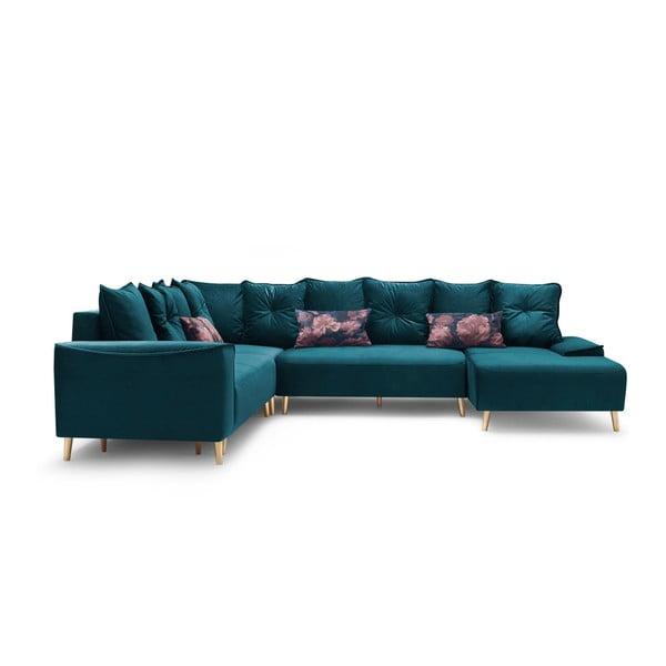 Canapea extensibilă, cu șezlong pe partea dreaptă Bobochic Paris Panoramique XXL Hera, albastru