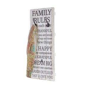 Dřevěný nástěnný věšák  Mendler Shabby Family Rules