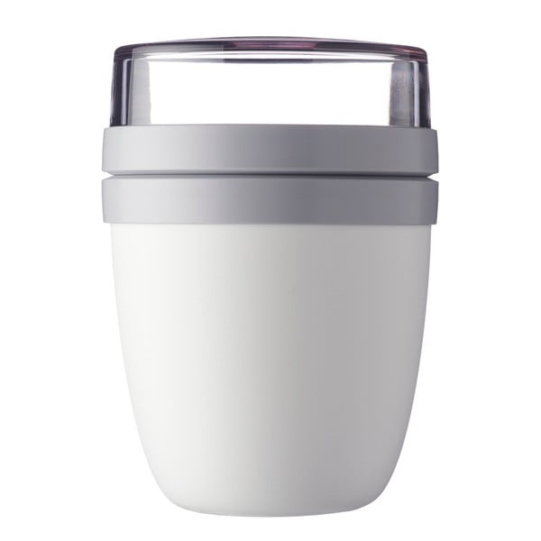 Bílý svačinový box na jogurt Rosti Mepal Ellipse
