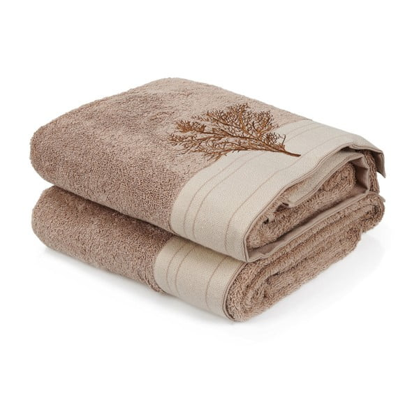 Zestaw 2 brązowych ręczników bawełnianych Infinity, 70x140 cm