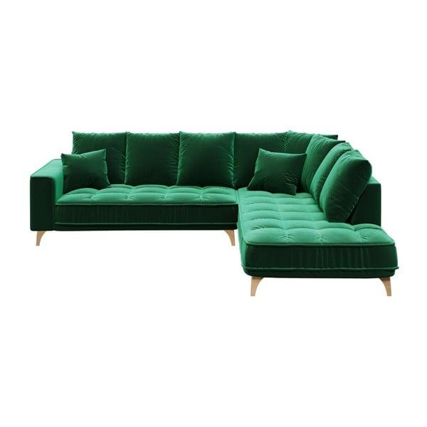 Tmavě zelená pohovka devichy Chloe, pravý roh