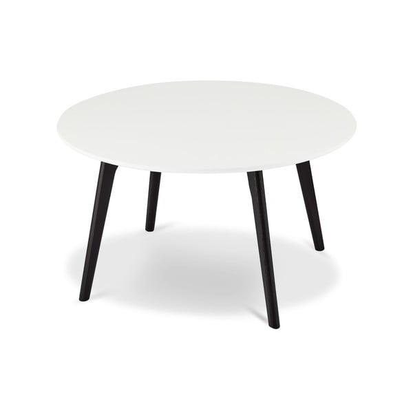 Czarno-biały stolik drewniany Furnhouse Life, Ø 80 cm
