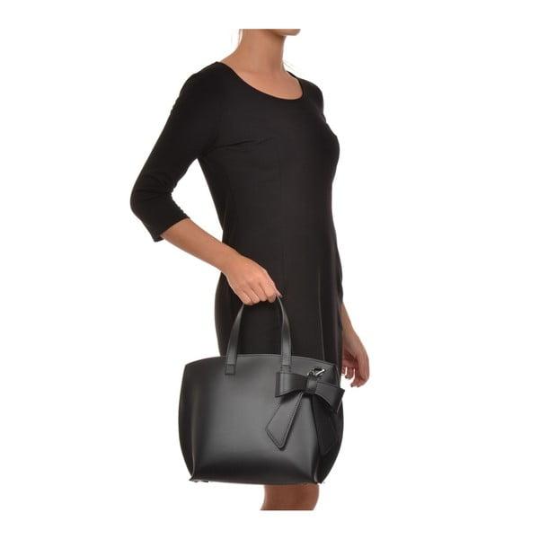 Černá kožená kabelka Luisa Vannini Bow