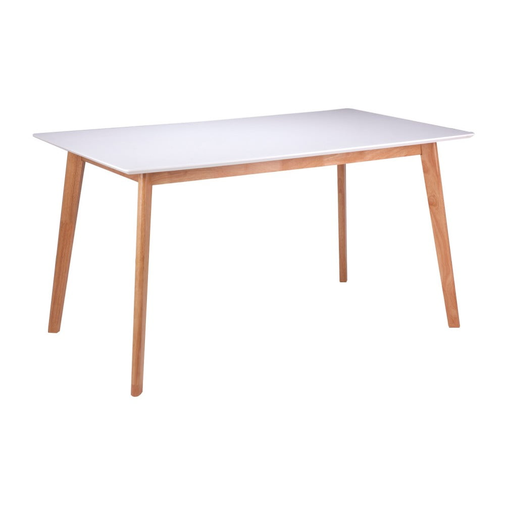 Bílý jídelní stůl s nohami ze dřeva kaučukovníku sømcasa Marie, 140x80cm
