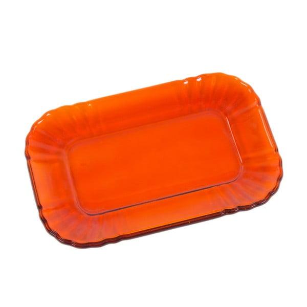 Oranžový skleněný tácek Kaleidos