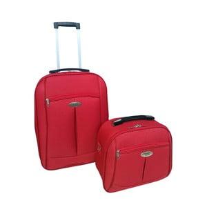 Set červceného cestovního kufru na kolečkách a kosmetického kufříku Travel World