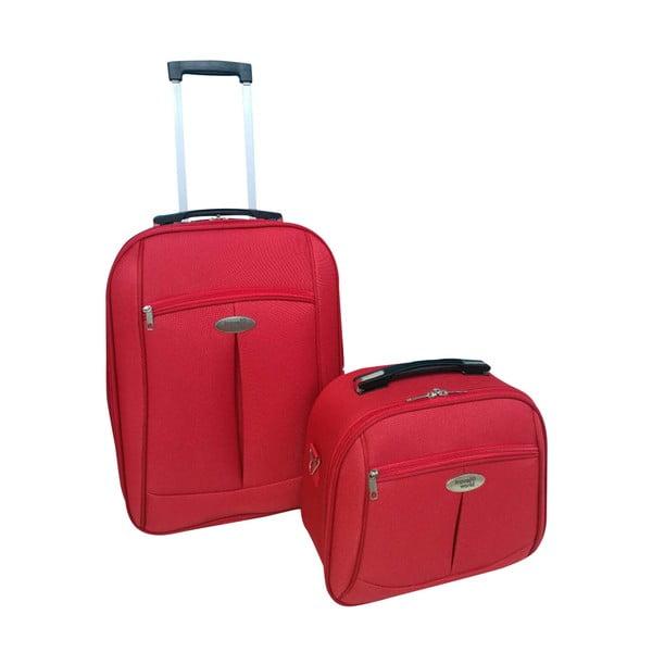Set červceného cestovného kufra na kolieskách a kozmetického kufríkov Travel World