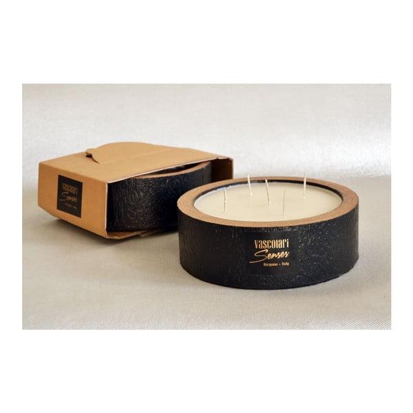 Palmová svíčka Legno Black Wood s vůní vanilky a pačuli, 80 hodin hoření
