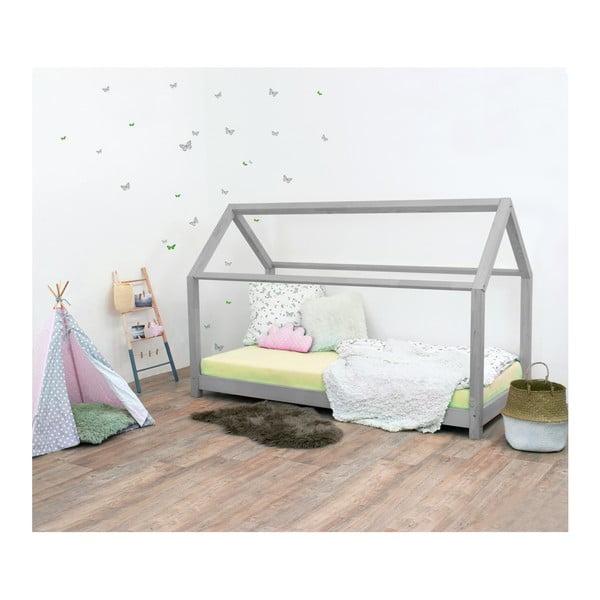 Šedá dětská postel bez bočnic ze smrkového dřeva Benlemi Tery, 120 x 200 cm