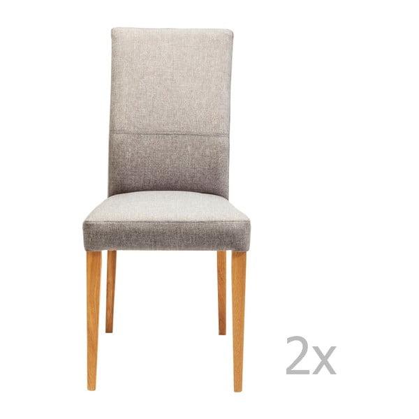 Sada 2 šedých jídelních židlí s nožičkami z dubového dřeva Kare Design Mara
