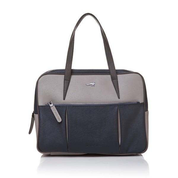 Kožená kabelka přes rameno Marta Ponti Negozio, šedá/modrá