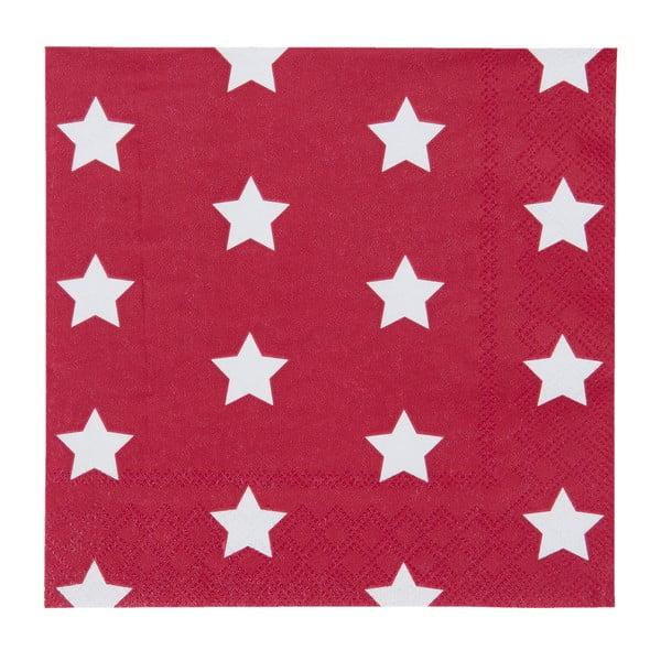 Červené ubrousky Clayre & Eef Xmas Star, 20ks