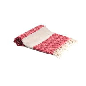 Červená ručně tkaná osuška Ivy's Ayla, 95x180cm