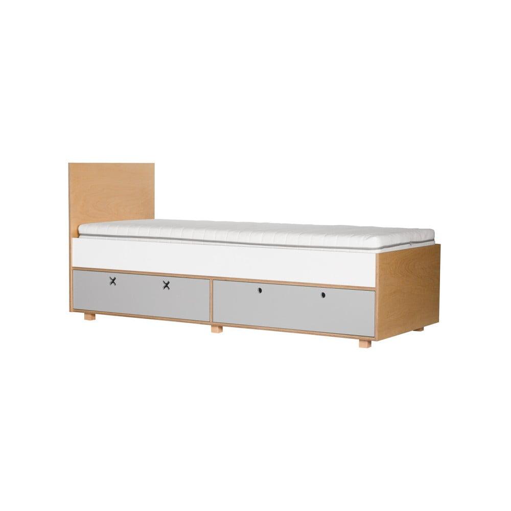 Šedá jednolůžková postel Durbas Style