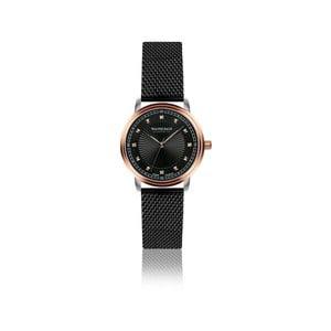 Dámské hodinky s černým páskem z pravé kůže a 4 diamanty Walter Bach Special