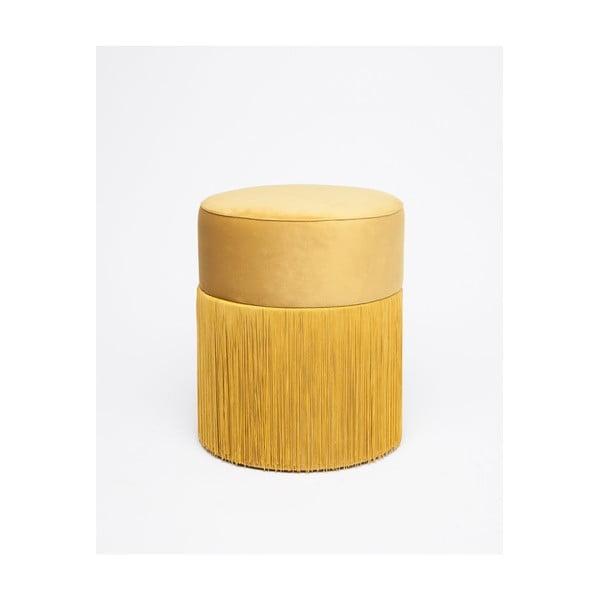 Sárga puff bársony kárpittal, ø 36 cm - Velvet Atelier