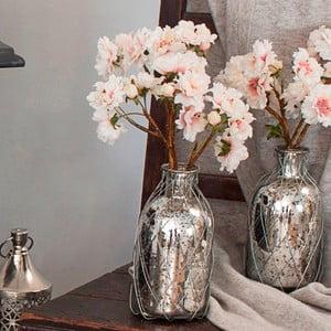 Skleněná váza s umělou květinou Blush, 34 cm