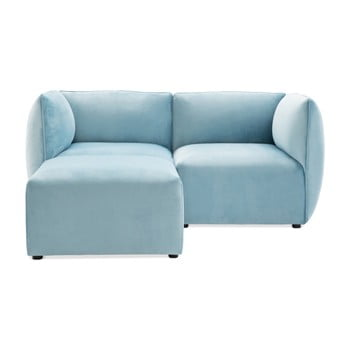 Canapea modulară cu 2 locuri și suport pentru picioare Vivonita Velvet Cube, albastru deschis de la Vivonita