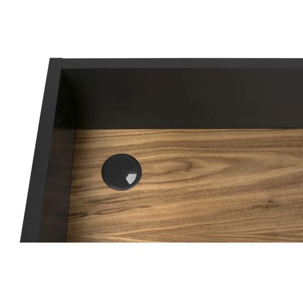 Černý pracovní stůl s detaily v dekoru ořechového dřeva TemaHome Volga