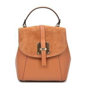 Koňakově hnědý kožený batoh Carla Ferreri Muro Gerro