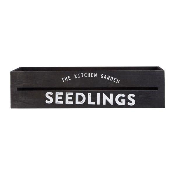 Černý dřevěný truhlík na bylinky a květiny Premier Housewares Seedligngs, 15 x 45 cm