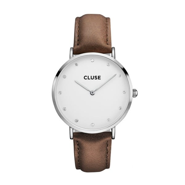 Hodinky Cluse La Bohéme Silver Stones/White Brown