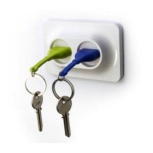 Věšáček na klíče se zelenou a modrou klíčenkou Qualy&CO Double Unplug