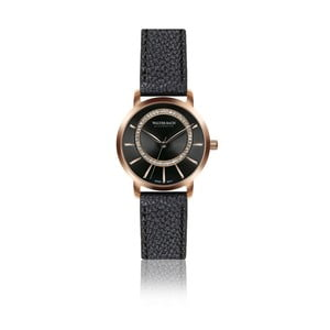 Dámské hodinky s černým páskem z pravé kůže Walter Bach Honey
