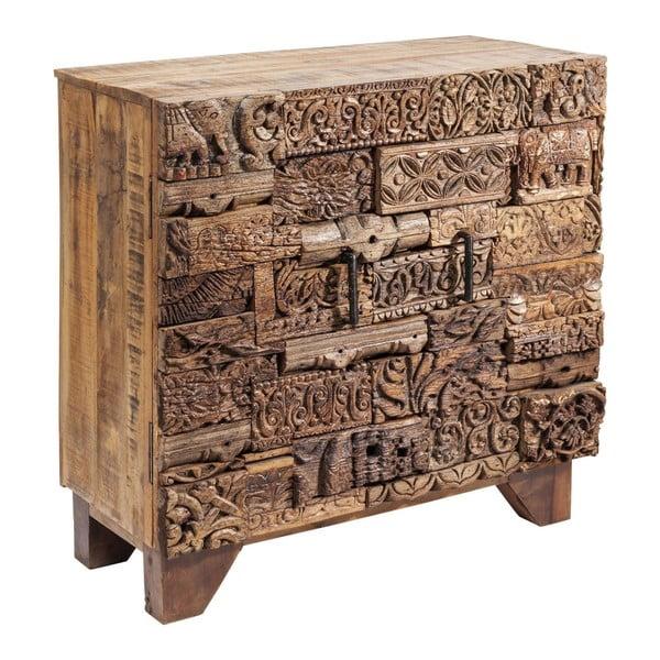Hnědá dřevěná komoda se skříňkami Kare Design Shanti Surprise Puzzle, 90x90cm