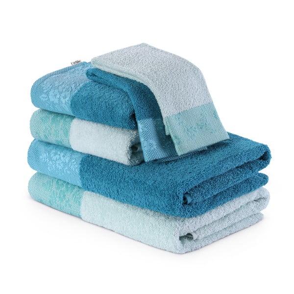 Zestaw 6 turkusowych ręczników AmeliaHome